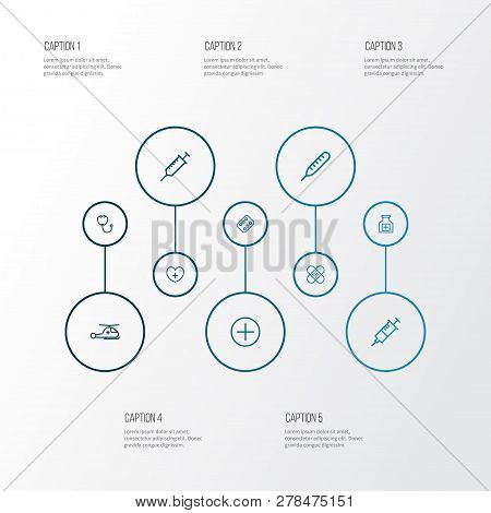 Drug Icons Line Style Set With Drugs, Injection, Thermometer And Other Copter  Elements. Isolated Ve