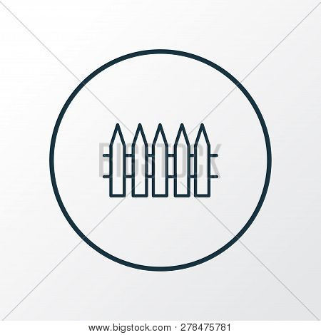 Wooden Fence Icon Line Symbol. Premium Quality Isolated Palisade Element In Trendy Style.