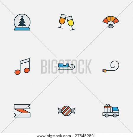 Happy Icons Colored Line Set With Party Blower, Car With Gift, Music Note And Other Stemware Element