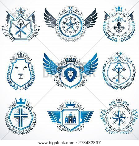 Heraldic Decorative Emblems Made With Royal Crowns, Animal Illustrations, Religious Crosses, Armory