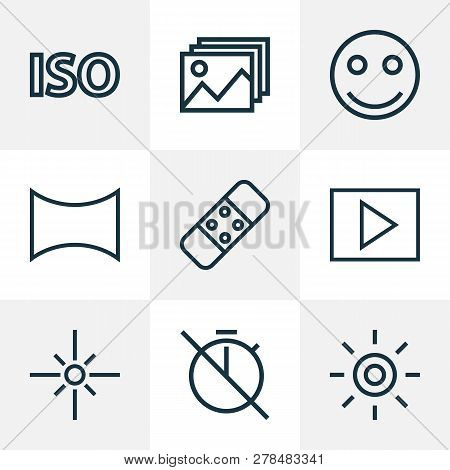 Image Icons Line Style Set With No Timer, Wb Iridescent, Smile And Other Iso Elements. Isolated Vect