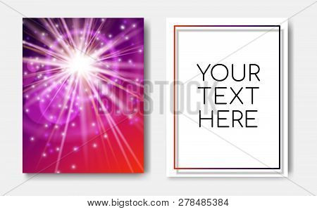 Night Banner Flyers With Sparks Glitter Glowing, Star Burst Explosion Glow And Lens Flare On Red Blu