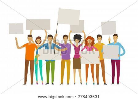 Crowd Of Happy People With Posters On The Procession. Parade, Public Activity Concept. Vector Illust