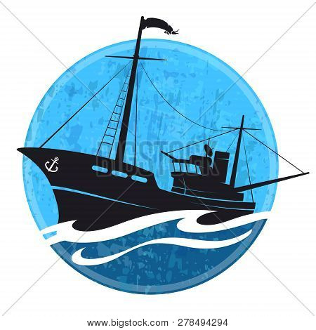 Fishing Boat Silhouette On The Wave Vector
