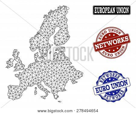 Black Mesh Vector Map Of Euro Union Isolated On A White Background And Rubber Stamp Seals For Networ
