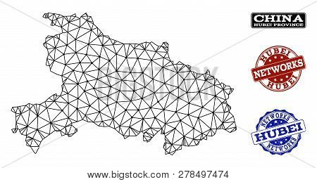 Black Mesh Vector Map Of Hubei Province Isolated On A White Background And Grunge Stamp Seals For Ne