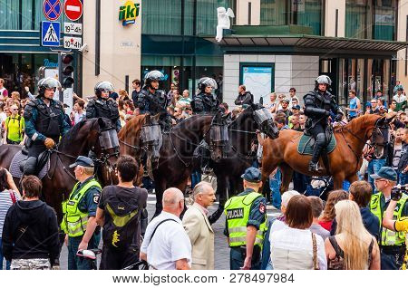 Vilnius, Lithuania - July 27, 2013: Armed Mounted Police Forces Standing At The Beginning Of Pride P