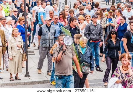 Vilnius, Lithuania - July 27, 2013: Pride Parade Event In Action On Gedimino Street In Vilnius. The