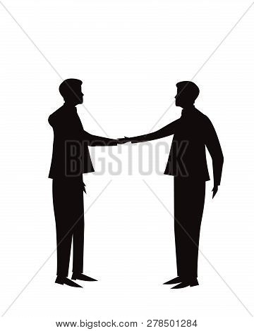 Vector Illustration. Business Teamwork Deal Agreement Partnership Concept. Businessmen Shaking Hands