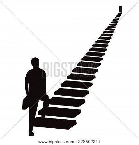 Vector Illustration. Future Success. First Step. Businessman Start Climbing Stair For Success In Car