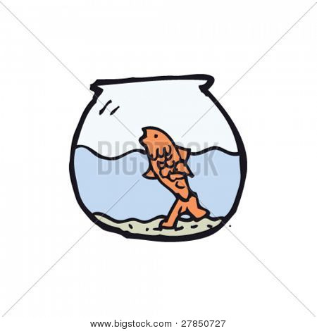 quirky drawing of a goldfish bowl