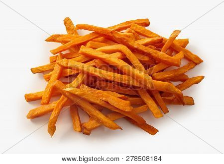 Heap Of Fried Sweet Potato Chips Over White