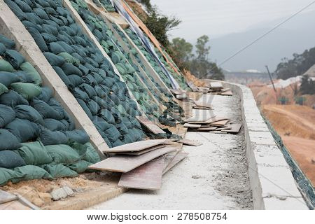 Closeup Of Mountain Slope At Construction Site