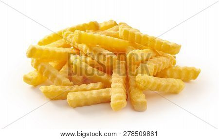 Pile Of Golden Rippled French Fries