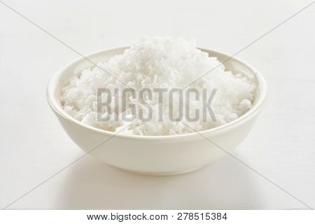 Small Dish Of Clean White Flor De Sal