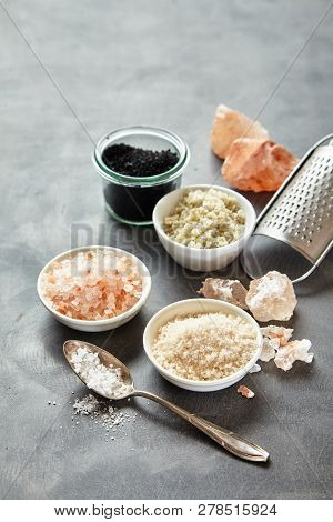 Containers Of Assorted Natural Culinary Salts