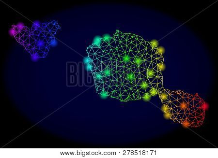 Glamour Mesh Vector Map Of Tahiti And Moorea Islands With Glare Effect. Light Spots Have Bright Spec