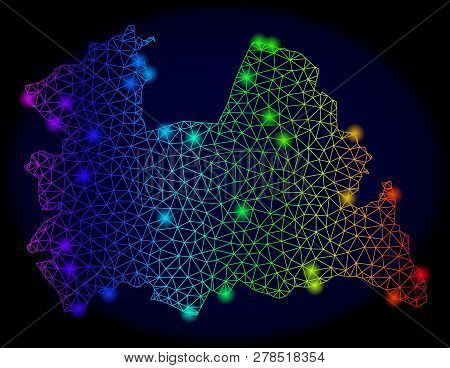 Bright Mesh Vector Map Of Utrecht Province With Glare Effect. Light Spots Have Bright Rainbow Colors