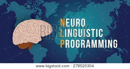 Nlp - Neuro Linguistic Programming Concept With World Map And Cyberspace Background - Vector Illustr