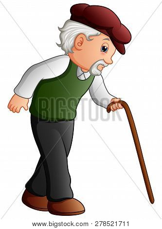 Illustration Of Old Man Walking With A Cane