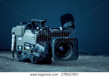 Saint Petersburg, Russia - July 17, 2011:  Professional Video Camera For Video Reporting, Television