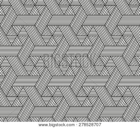 Seamless Hexagon Pattern In Rattan Style, Vector Art
