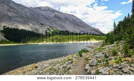 An Empty Trail Along The Remote Northover Ridge Hike, High In The Rocky Mountains In Kananaskis, Alb