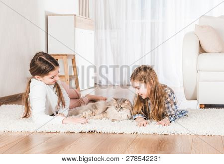 Sisters lying together with cat on carpet