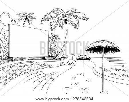 Sea Coast Beach Road Billboard Graphic Black White Landscape Sketch Illustration Vector