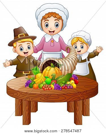 Illustration Of Pilgrim Family With Cornucopia Of Fruits And Vegetables On Round Wooden Table