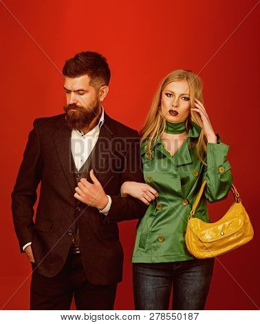 Looking Trendy. Couple In Love In Fashionable Style. Love Relations. Autumn Fashion Trends. Fashion