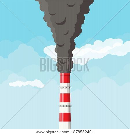 Smoking Factory Pipe Against Clear Sky With Clouds. Plant Pipe With Dark Smoke. Carbon Dioxide Emiss