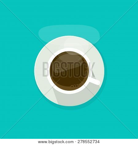 Coffee Cup Top View Isolated On Blue Background, Coffee Cup Vector Illustration, Glass Coffee Cup Ic
