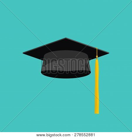 Graduation Cap Vector Isolated On Blue Background, Graduation Hat With Tassel Flat Icon, Academic Ca