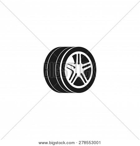 Wheel Car Vector Icon Isolated On White Background, Tire Icon, Black And White Tire Logo Element, Si