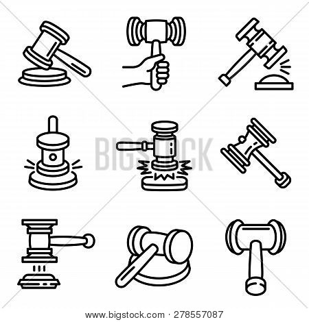 Judge Hammer Icon Set. Outline Set Of Judge Hammer Icons For Web Design Isolated On White Background