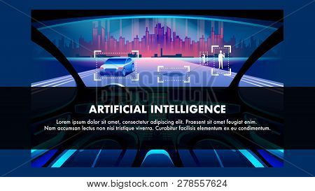 Artificial Intelligence Vehicle Flat Cartoon Vector Banner. Autonomus Car Cockpit Future Interior Wi