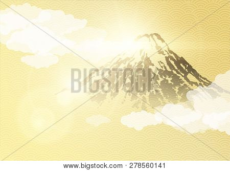 Japanese Traditional Golden Background And Mount Fuji On Sunrise. Vector Illustration.