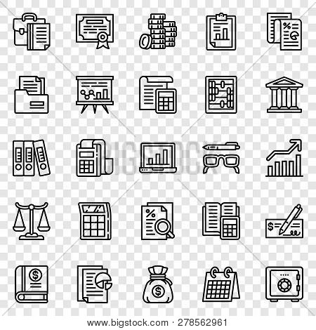 Accounting Icon Set. Outline Set Of Accounting Icons For Web Design