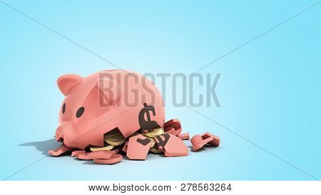 Savings Spending Comcept Pink Ceramic Piggy Bank Completely Broken Up Into Several Large Pieces Mone