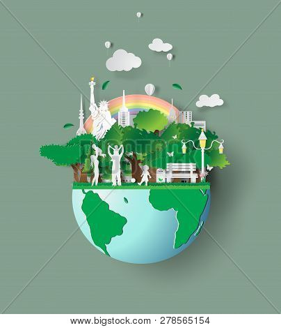Paper Art Of Eco Friendly Family Concept And Earth With Environment Day.saving The World Environment