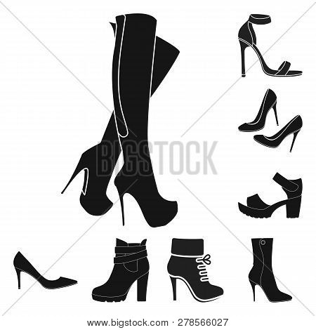 Isolated Object Of Heel And High Symbol. Collection Of Heel And Stiletto Stock Vector Illustration.