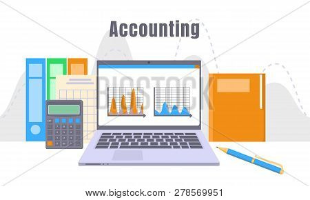 Accounting Laptop Concept Background. Flat Illustration Of Accounting Laptop Concept Background For