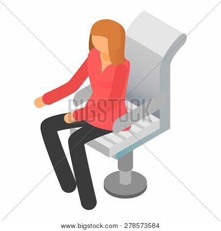 Woman At Boss Chair Icon. Isometric Of Woman At Boss Chair Icon For Web Design Isolated On White Bac