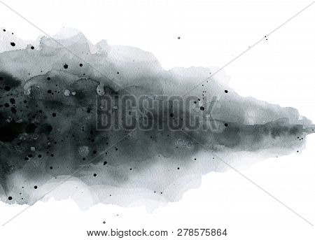 Black White Gray Abstract Stain Blots Blot Watercolor Background