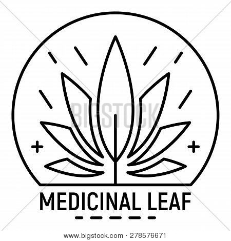Cannabis Medicine Leaf Logo. Outline Cannabis Medicine Leaf Logo For Web Design Isolated On White Ba