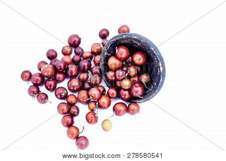 Close Up Of Red Colored Popular Indian And Asian Berries Or Bors Or Bers Isolate D On White I.e.  Ch