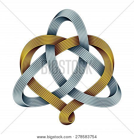 Triquetra Celtic Knot With Heart Sign Made Of Intertwined Golden And Silver Mobius Strips. Harmonic