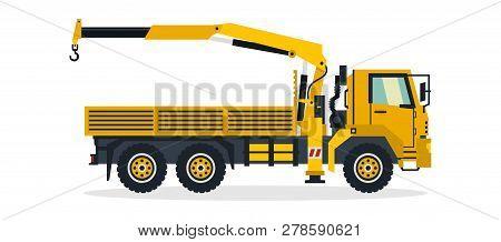 Truck Crane, Commercial Vehicles, Construction Equipment. Truck With A Lifting Crane. Vector Illustr