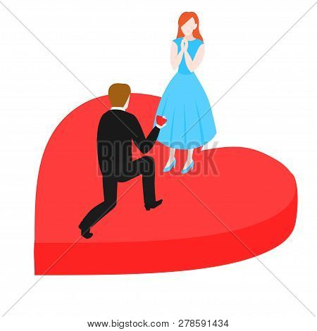 Man Propose To Woman Kneeling With Marriage Ring Box. Groom And Bride, Wedding Proposal. Isometric E